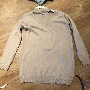 Tobi Tan Sweater Dress with choker neck